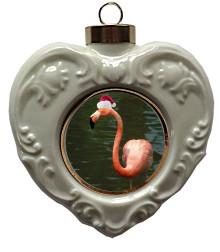 Flamingo Heart Christmas Ornament