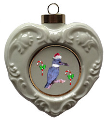 Belted Kingfisher Heart Christmas Ornament