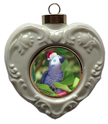 African Grey Parrot Heart Christmas Ornament
