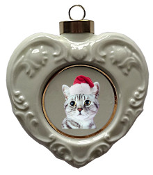 American Shorthair Cat Heart Christmas Ornament