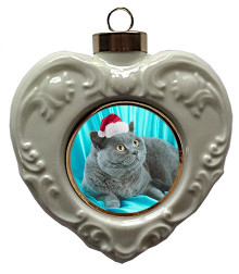 British Shorthair Cat Heart Christmas Ornament