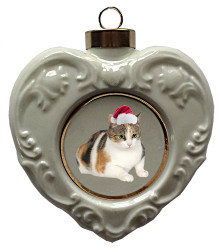 Calico Cat Heart Christmas Ornament