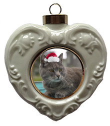 Cat Heart Christmas Ornament