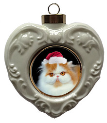 Persian Cat Heart Christmas Ornament