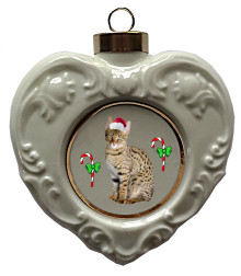 Savannah Cat Heart Christmas Ornament
