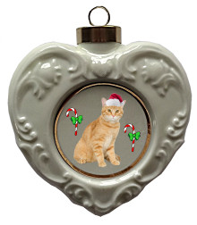 Tabby Cat Heart Christmas Ornament