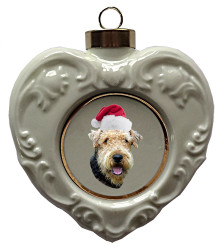 Airedale Heart Christmas Ornament