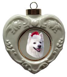 American Eskimo Dog Heart Christmas Ornament