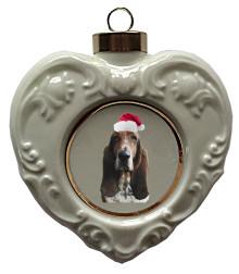 Basset Hound Heart Christmas Ornament