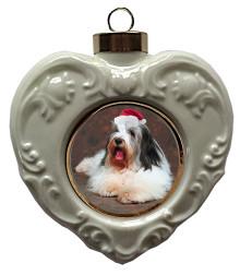 Bearded Collie Heart Christmas Ornament