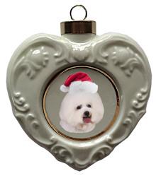 Bichon Heart Christmas Ornament