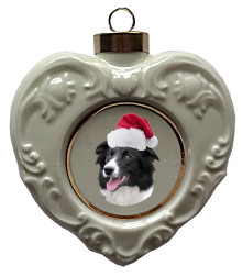 Border Collie Heart Christmas Ornament