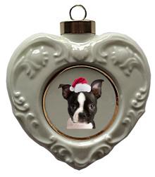 Boston Terrier Heart Christmas Ornament