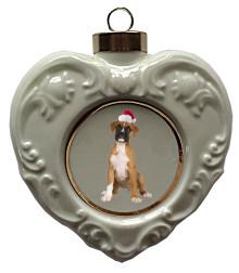 Boxer Heart Christmas Ornament