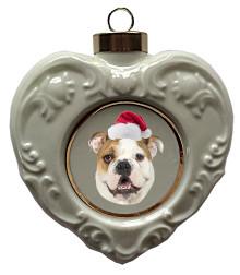 Bulldog Heart Christmas Ornament