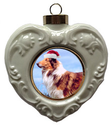 Collie Heart Christmas Ornament