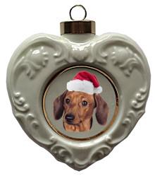 Dachshund Heart Christmas Ornament