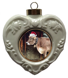 Cow Heart Christmas Ornament