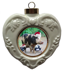 Pig Heart Christmas Ornament