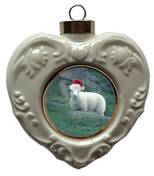 Sheep Heart Christmas Ornament