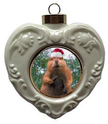 Beaver Heart Christmas Ornament