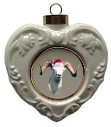 Big Horned Sheep Heart Christmas Ornament