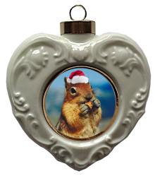 Chipmunk Heart Christmas Ornament