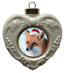 Fox Heart Christmas Ornament