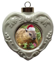 Groundhog Heart Christmas Ornament