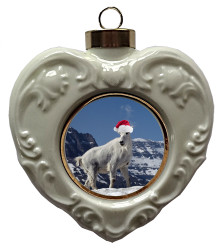 Mountain Goat Heart Christmas Ornament