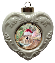 Rabbit Heart Christmas Ornament