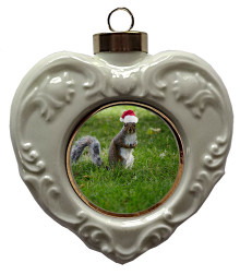 Squirrel Heart Christmas Ornament