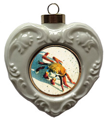Crab Heart Christmas Ornament