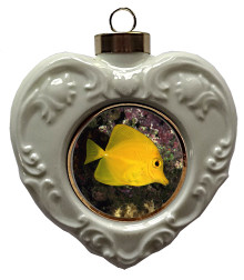 Yellow Tang Heart Christmas Ornament