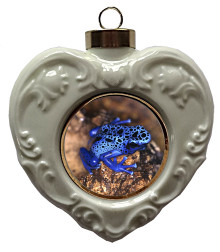 Blue Frog Heart Christmas Ornament