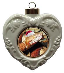 Copperhead Snake Heart Christmas Ornament