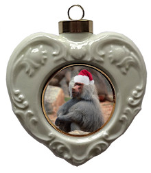 Baboon Heart Christmas Ornament