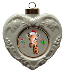 Giraffe Heart Christmas Ornament