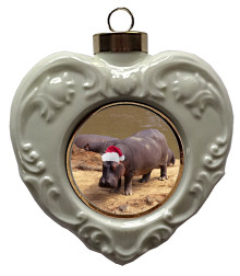 Hippo Heart Christmas Ornament
