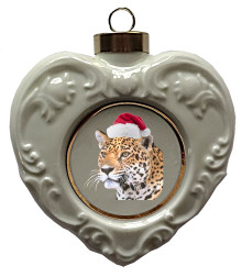 Jaguar Heart Christmas Ornament