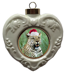 Leopard Heart Christmas Ornament