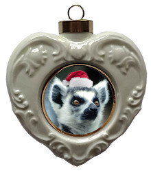 Monkey Heart Christmas Ornament