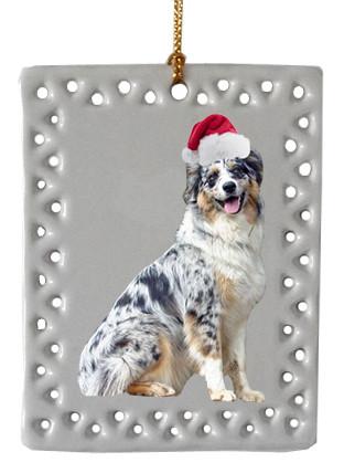 Australian Shepherd Christmas Ornament.Australian Shepherd Rectangle Christmas Ornament