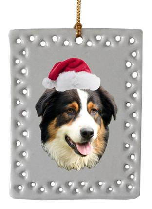 Australian Shepherd Christmas Ornament.Australian Shepherd Rectangle Christmas Ornament Head