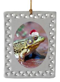 Green Frog  Christmas Ornament