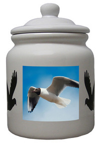 Black Headed Gull Ceramic Color Cookie Jar