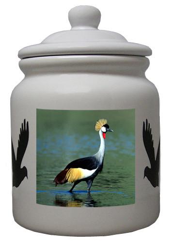 Crowned Crane Ceramic Color Cookie Jar