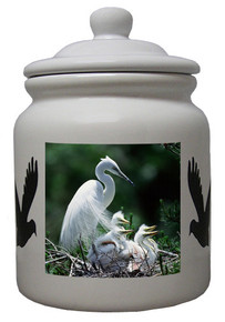 Egret Ceramic Color Cookie Jar