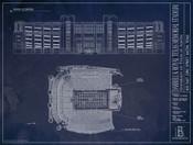 Texas Longhorns - Royal Memorial Stadium Blueprint Poster