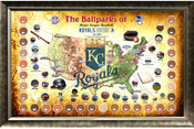 Kansas City Royals Ballpark Map Framed Collage w/Game Used Dirt